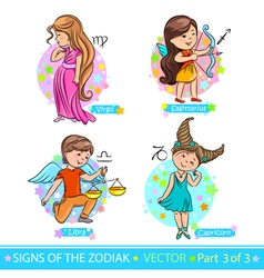 Zodiac signs 3 vector