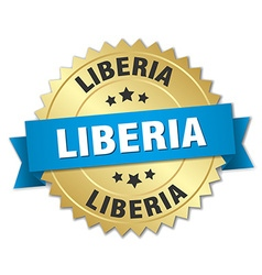 Liberia round golden badge with blue ribbon vector