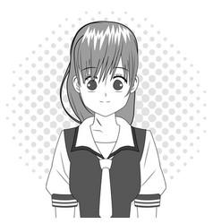 Anime girl japanese character black and white vector