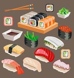 big set of japan asian kitchen sushi icons vector image