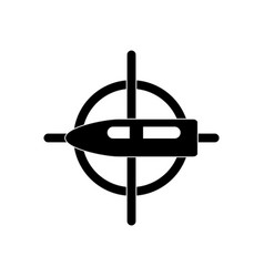 Black icon on white background aim on bullet vector