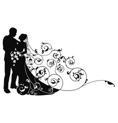 bride and groom background pattern silhouette vector image vector image