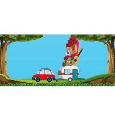 Car and wagon full of luggages vector