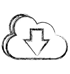 Cloud computing with arrow down vector