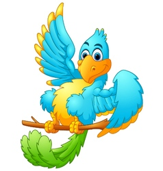Cute blue bird cartoon waving vector image