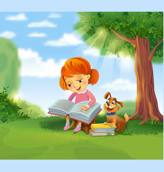 cute girl reading book vector image vector image