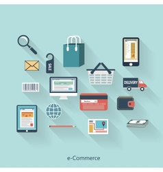 E-Commerce modern concept in flat design vector image vector image