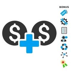 Financial sum flat icon with bonus vector