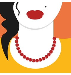 Flat design close up woman with red necklace vector