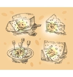 Hand drawn sketch set cheese vector