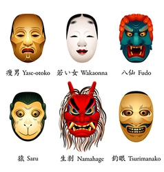 Japan masks V vector image