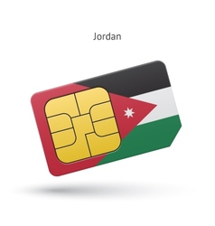 Jordan mobile phone sim card with flag vector