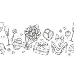 Monochrome valentine horizontal border vector image vector image