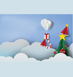 paper art of balloon white and gift box on in the vector image vector image