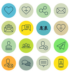 Set of 16 social icons includes read message vector