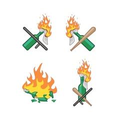 set of Molotov cocktails vector image