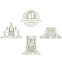 Set of of vintage entrance icon with text vector