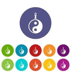 Sign yin yang set icons vector image