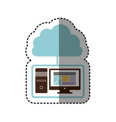 Sticker tech computer with cloud storage server vector