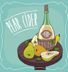 Still life with cider and pears and slices vector
