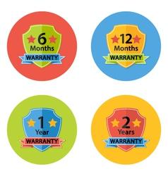 Warranty flat circle icons set 3 vector