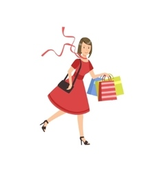 Woman Running For Sale In Shopping Mall vector image