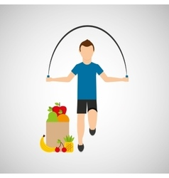 Man jump rope exercising bag health food vector