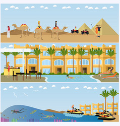 Trip to egypt concept flat style design vector