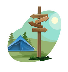 landscape with camping zone vector image