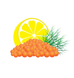 red caviar with lemon and dill vector image