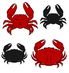 set of crab icons isolated on white background vector image