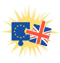 Crashing jigsaw puzzle of eu flag and britain flag vector