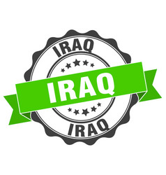 Iraq round ribbon seal vector