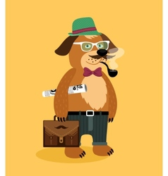 Hipster nerd puppy dog vector
