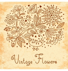 Vintage Festive card with flowers and pomegranate vector image