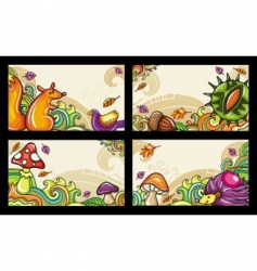 Autumn cards vector