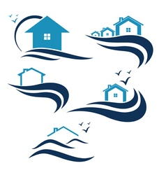 House and waves icon vector
