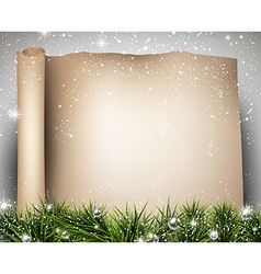Christmas old paper background with fir twigs vector