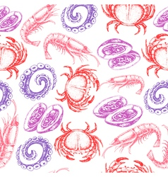 Hand drawn sketch seafood seamless pattern vector