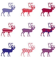 Christmas reindeer silhouette with ornament vector