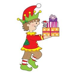 Elf with Present vector image