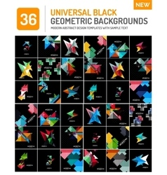 Mega collection of black geometric shape vector
