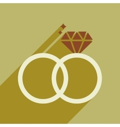 Flat web icon with long shadow wedding rings vector image