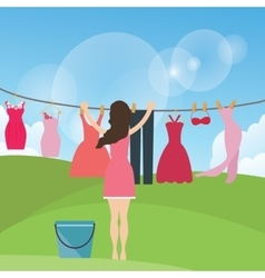 woman female mom drying clothes hanging in rope vector image
