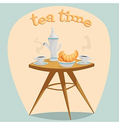 Tea time table with a kettle cups and croissants vector