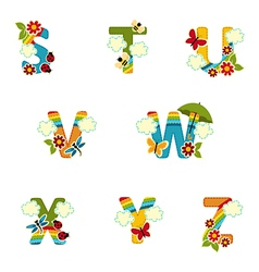 alphabet rainbow from S to Z vector image vector image
