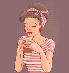 Beautiful young woman holding paper cup of coffee vector
