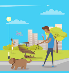 boy walks with dog in park and uses smartphone vector image
