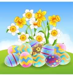 Cartoon of colorful easter eggs vector
