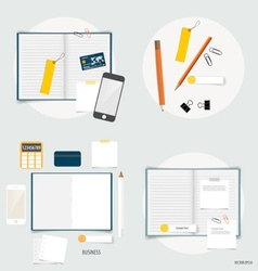 Collection of business items various papers paper vector image vector image